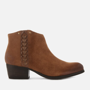 Clarks Women's Maypearl Fawn Suede Heeled Ankle Boots - Dark Tan