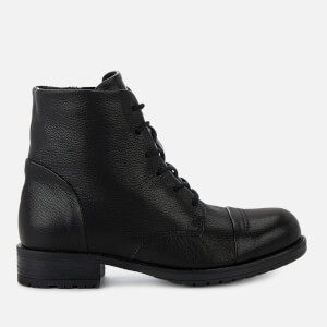 Clarks Women's Adelia Stone Leather Lace Up Boots - Black