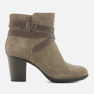 Clarks Women's Enfield Coco Suede Heeled Ankle Boots - Olive