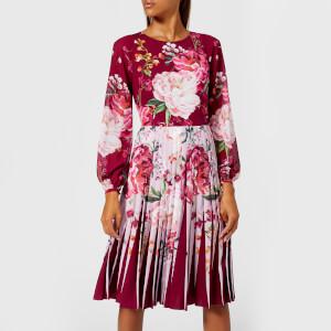 Ted Baker Women's Esperan Serenity Contrast Pleat Dress - Maroon