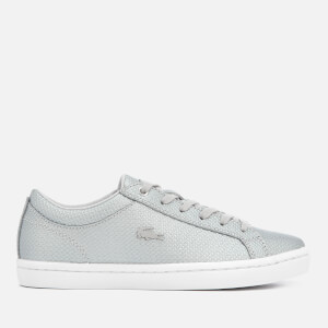 Lacoste Women's Straightset 318 2 Embossed Leather Trainers - Silver/White