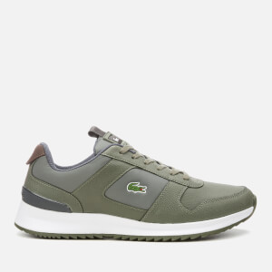 Lacoste Men's Joggeur 2.0 318 1 Textile/Leather Runner Style Trainers - Khaki/Dark Grey