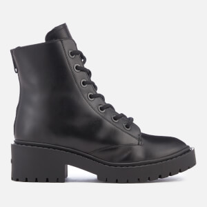 KENZO Women's Pike Fur Lined Leather Lace Up Boots - Black