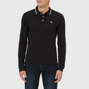 Emporio Armani Men's Long Sleeve Tipped Polo Shirt - Black