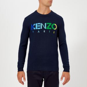 KENZO Men's Paris Logo Multi Colour Jumper - Navy Blue