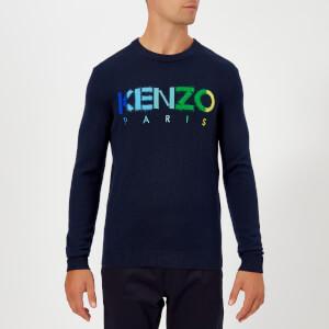 KENZO Men's Paris Logo Multi Colour Jumper - Navy Blue
