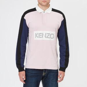 KENZO Men's Large Logo Long Sleeve Polo Shirt - Pastel Pink