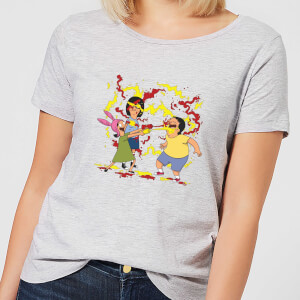 Bobs Burgers Belchers Condiment Fight Damen T-Shirt - Grau
