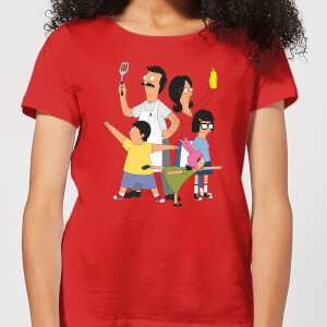 Bobs Burgers Family Pose Dames T-shirt - Rood