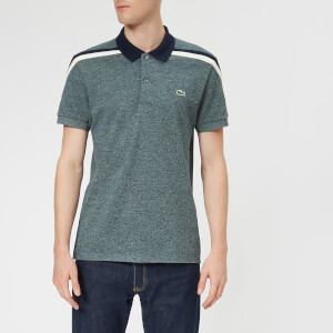Lacoste Men's Made in France Shoulder Tape Polo Shirt - Flour/Navy Blue