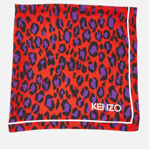 KENZO Silk Twill Leopard Square Scarf - Medium Red