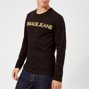 Versace Jeans Men's Gold Logo Long Sleeve T-Shirt - Black