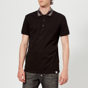 Versace Collection Men's Collar Detail Polo Shirt - Nero