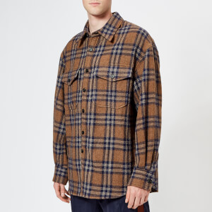 Wooyoungmi Men's Quilted Plaid Overshirt - Tan