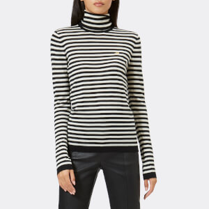 Bella Freud Women's Striped Skinny Dog Jumper - Black/Ivory