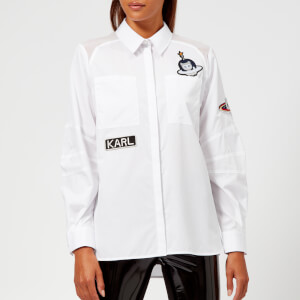 Karl Lagerfeld Women's Space Karl Shirt with Patches - White