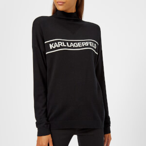 Karl Lagerfeld Women's Mock Neck Logo Sweater - Black