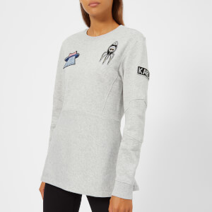 Karl Lagerfeld Women's Space Karl Peplum Patch Sweatshirt - Grey