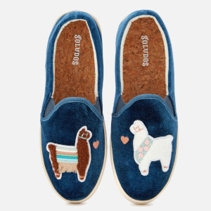 Soludos Women's Velvet Llama in Love Slip-On Trainers - Faded Blue