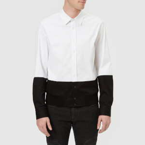 Neil Barrett Men's Bi-Colour Rib Hem Shirt - Bi Colour Workwear Shirting - White/Black