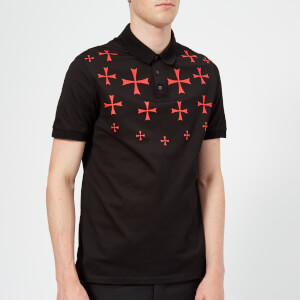 Neil Barrett Men's Fairisle Military Star Polo Shirt - Black/Red