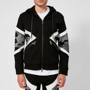 Neil Barrett Men's Iconic Modernist Camo Hoodie - Black/White/Grey