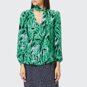 RIXO London Women's Moss Necktie Blouse - Green