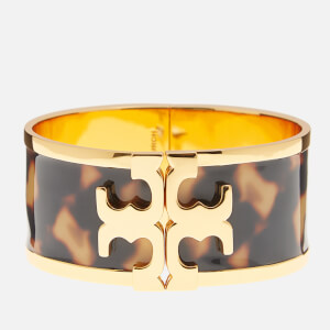 Tory Burch Women's Raised Logo Printed Wide Cuff - Tortoise/Gold