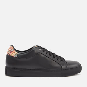 Paul Smith Men's Basso Leather Cupsole Trainers - Black/Multi Stripe Tab