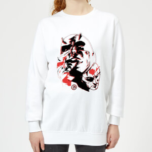 Marvel Knights Daredevil Layered Faces Women's Sweatshirt - White