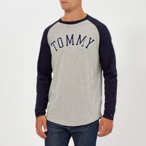 Tommy Jeans Men's TJM Raglan Baseball Long Sleeve T-Shirt - Black Iris/Light Grey Heather