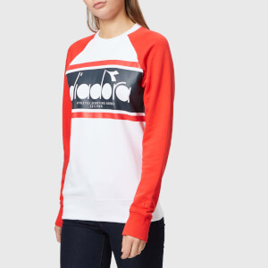 Diadora Women's Spectra Crew Neck Sweatshirt - Ivory White/Tomato Red