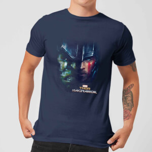 Marvel Thor Ragnarok Hulk Split Face Men's T-Shirt - Navy