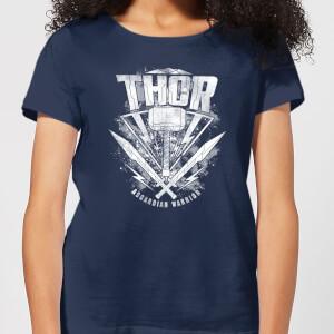 T-Shirt Femme Marvel - Thor Ragnarok - Logo du Marteau de Thor - Bleu Marine