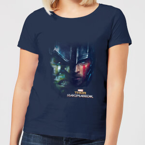 Marvel Thor Ragnarok Hulk Split Face Women's T-Shirt - Navy
