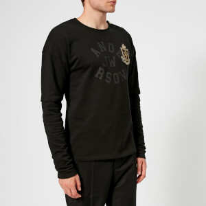 JW Anderson Men's Double Sleeve Printed Long Sleeve T-Shirt - Black