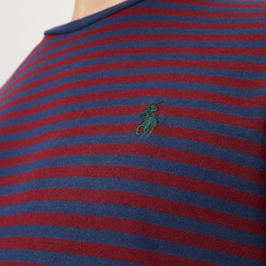Polo Ralph Lauren Men's Basic Stripe Crew Neck Short Sleeve T-Shirt - Newport Navy/Classic Wine: Image 4