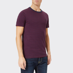 Polo Ralph Lauren Men's Basic Stripe Crew Neck Short Sleeve T-Shirt - Newport Navy/Classic Wine: Image 1