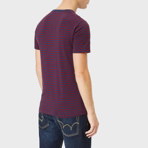 Polo Ralph Lauren Men's Basic Stripe Crew Neck Short Sleeve T-Shirt - Newport Navy/Classic Wine: Image 2