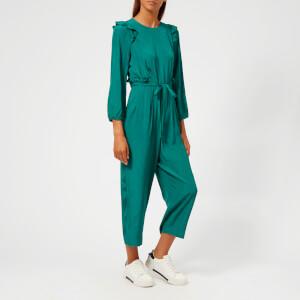 Whistles Women's Britt Jacquard Ruffle Jumpsuit - Green