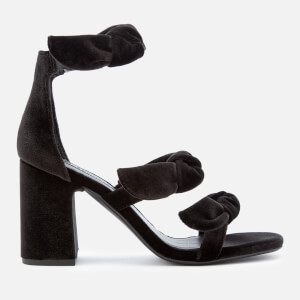 Senso Women's Melvy IV Velvet Triple Strap Heeled Sandals - Ebony