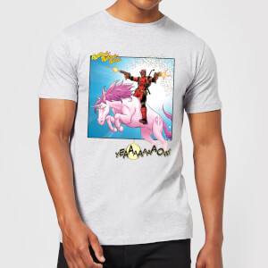 T-Shirt Homme Deadpool Chevauche une Licorne Marvel - Gris