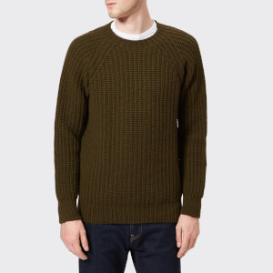 Officine Générale Men's Crew Neck Scottish Wool Knitted Jumper - Olive