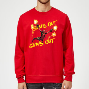 Sweat Homme Deadpool Suns Out Guns Out Marvel - Rouge