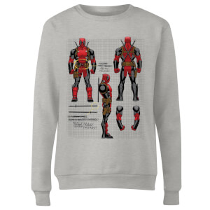 Marvel Deadpool Action Figure Plans Women's Sweatshirt - Grey