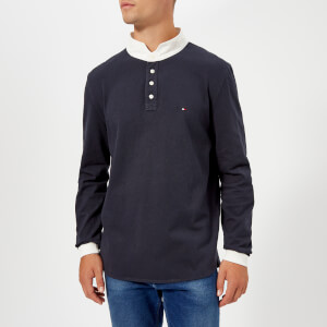 Tommy Hilfiger Men's Relaxed Back Logo Rugby Shirt - Sky Captain