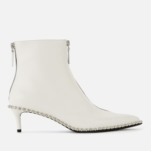 Alexander Wang Women's Eri Low Heel Leather Ankle Boots - White