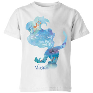 Disney Princess Filled Silhouette Ariel Kinder T-Shirt - Weiß