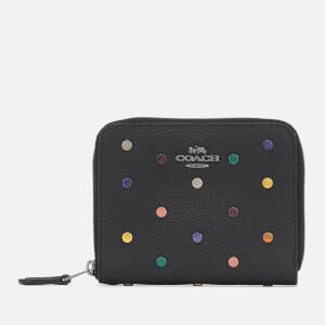 Coach Women's Rainbow Rivets Small Zip Around Wallet - Black
