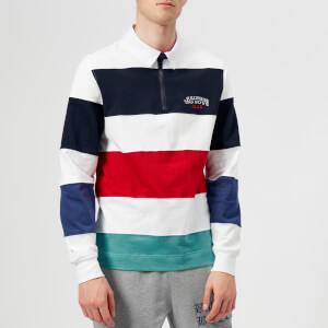 Billionaire Boys Club Men's Striped Zip Rugby Top - White